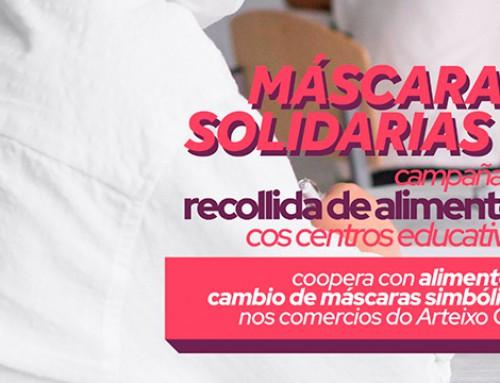 Escolares de Arteixo decoran máscaras nunha iniciativa solidaria